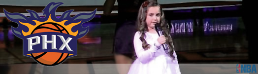 7 year old Kylen Barnett singing the National Anthem at the Phoenix Suns game 1-19-14 [Musical Surprise]