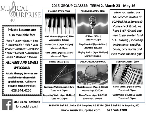 2015 Group Classes: Term 2 (March 23 – May 16)