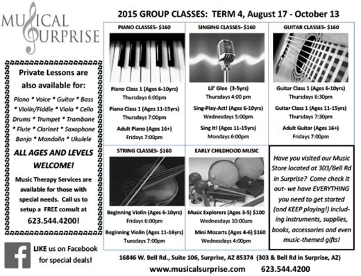 Musical Surprise - 2015 GROUP CLASSES: TERM 4 (August 17 – October 13)