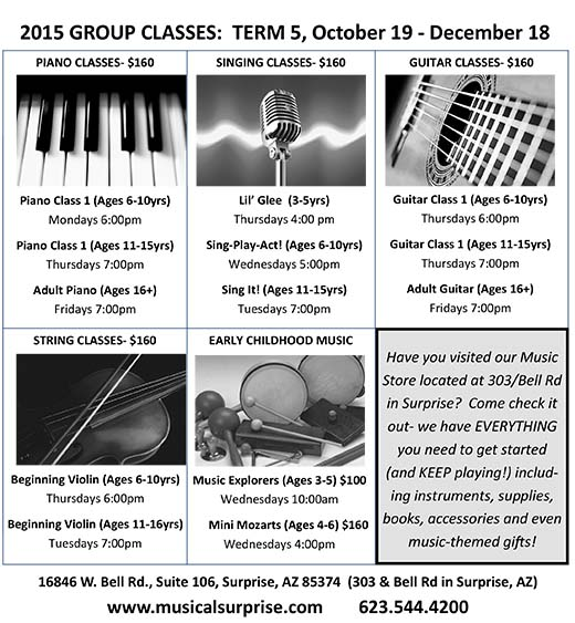 2015 GROUP CLASSES: TERM 5 (October 19 – December 18)