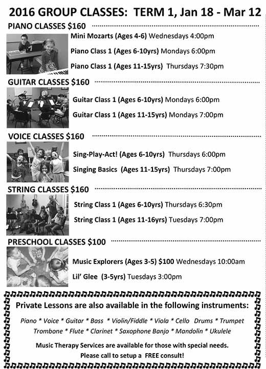 2016 Group Classes: Term 1, Jan 18 - Mar 12