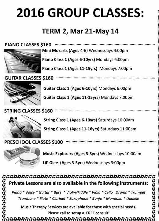 2016 GROUP CLASSES: TERM 2 (Mar. 21 – May 14)