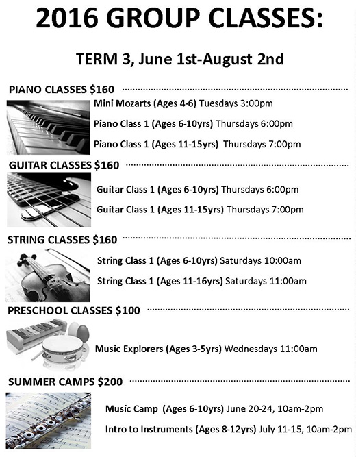 2016 GROUP CLASSES: TERM 3 (June 1 – Aug. 2)